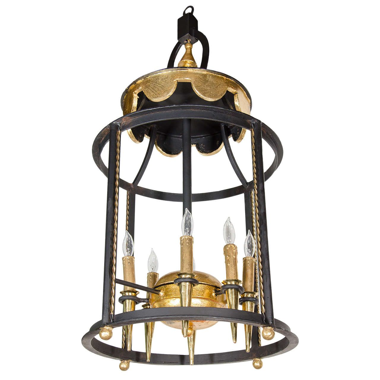 Exceptional Art Deco Large Scale Lantern Chandelier Lantern