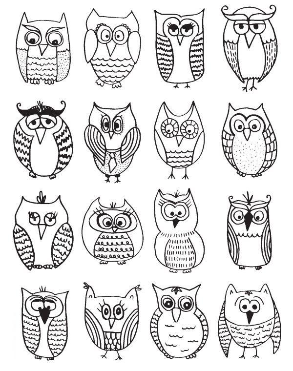 T l charger un coloriage de chouette dessiner owl doodle owl coloring pages et owl art - Chouette a dessiner ...