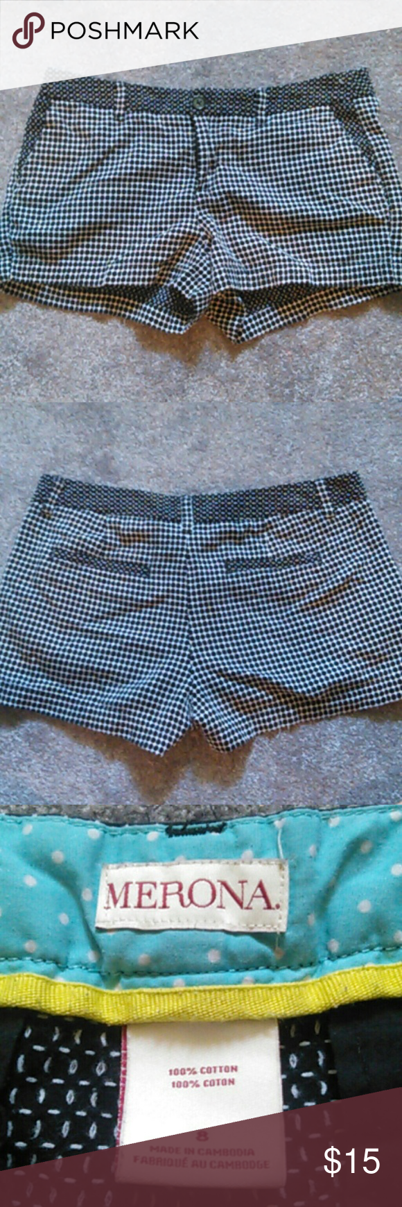 Merona checker patterned shorts EUC Merona checkered/patterned shorts. No holes or stains. White and black.  Size 8 Make an offer! Merona Shorts