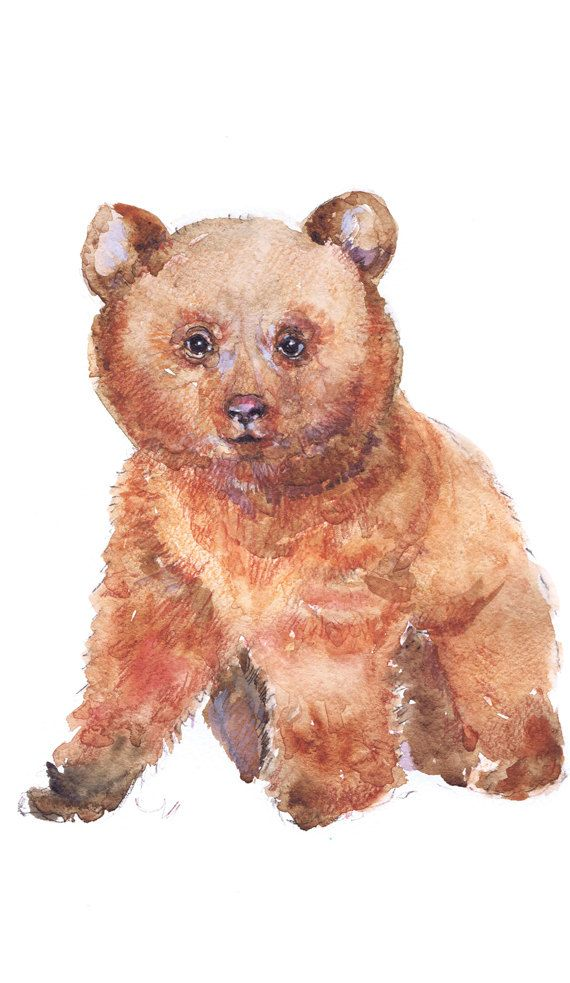 Baby Bear Art Watercolor Painting Baby Boy Nursery By