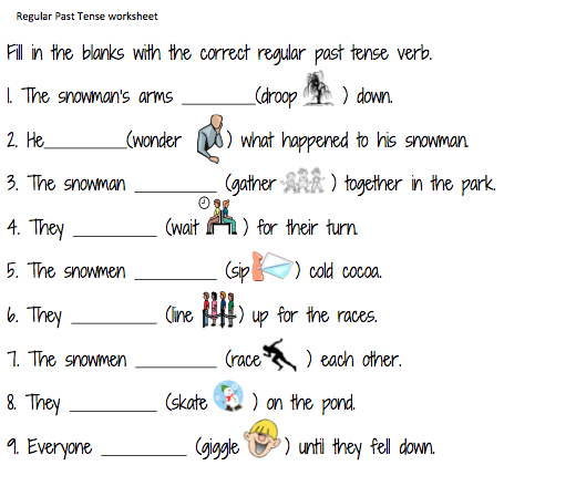 ESL kids worksheets: Past Tense Regular Verbs