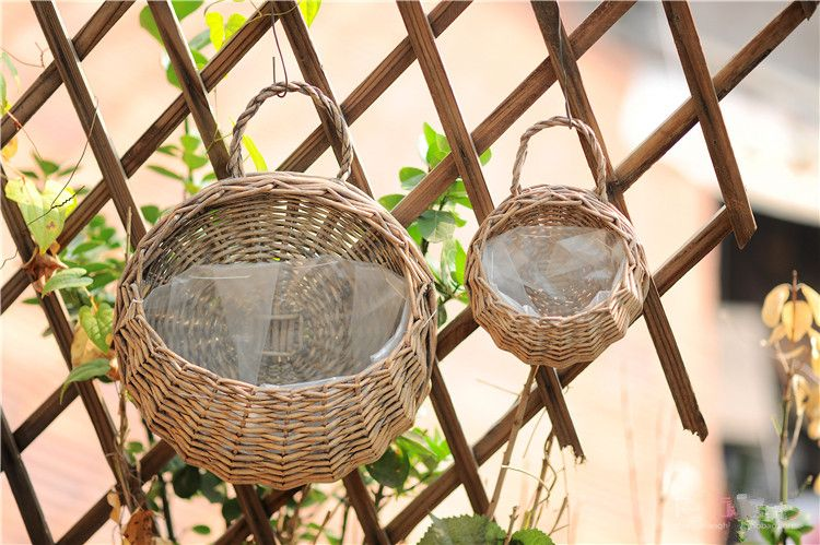 Ivy Leaf Garland Plant Hanging Baskets Wicker Hand Woven Wall Mounted Vertical Garden Flower Pots Liv Vertical Garden Flowers Hanging Baskets Flower Pot Garden