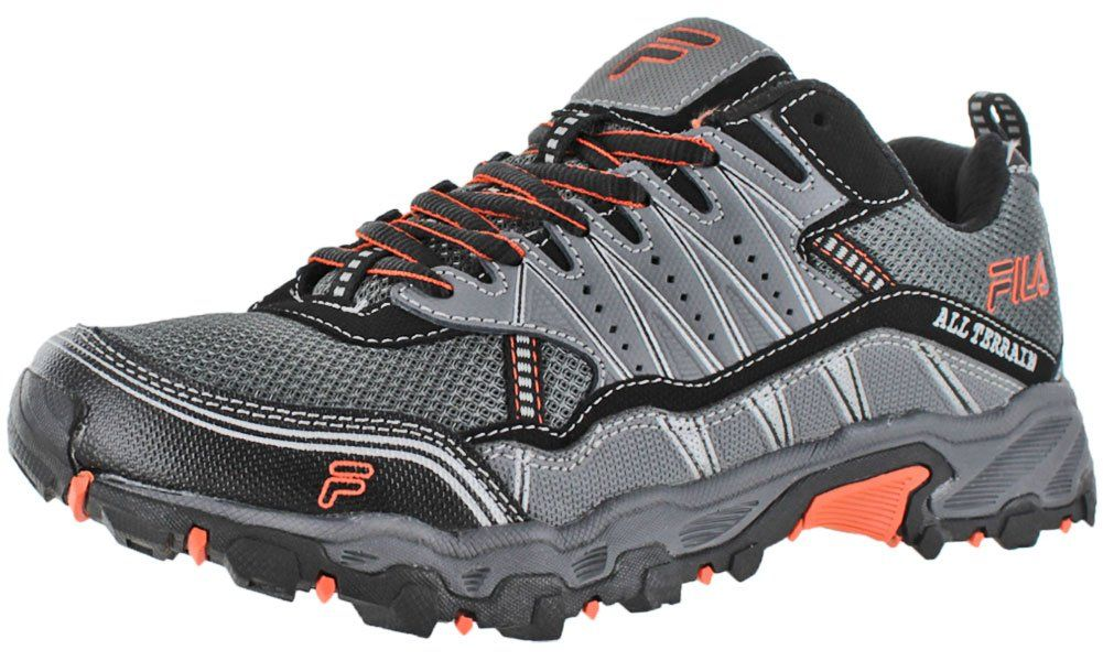 Fila Men's AT Tractile Running Shoe, Pewter/Black/Vibrant Orange, 8 M