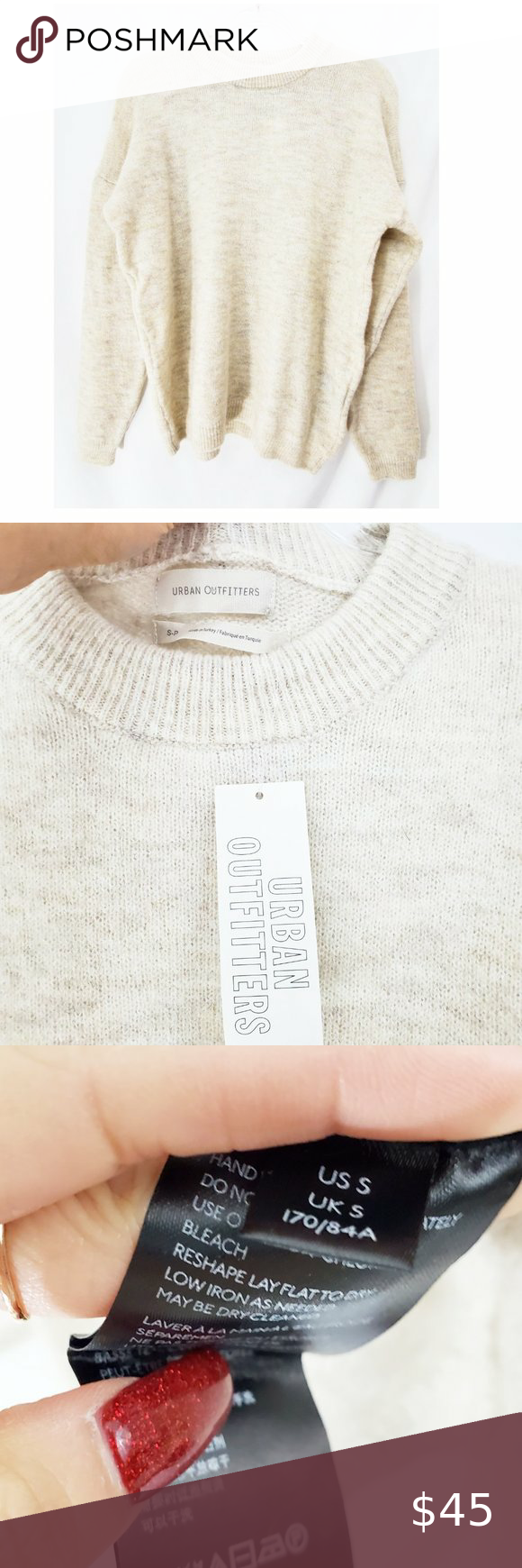 URBAN OUTFITTERS Beige Alpaca Wool Sweater NWT Slouchy, oversized sweater tunic from Urban Outfitters. Alpaca wool blend. Brand new with tags! Size Small.  23