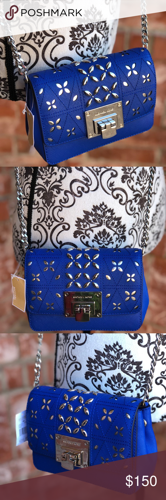 2aeb36a35 Michael kors Tina small clutch crossbody leather STYLE: 35S8ST4C5T Color:  Electric Blue Perforated Stud