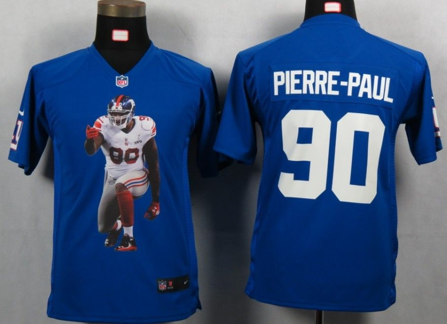 nike new york giants 90 jason pierre paul blue portrait fashion game youth nfl jerseys