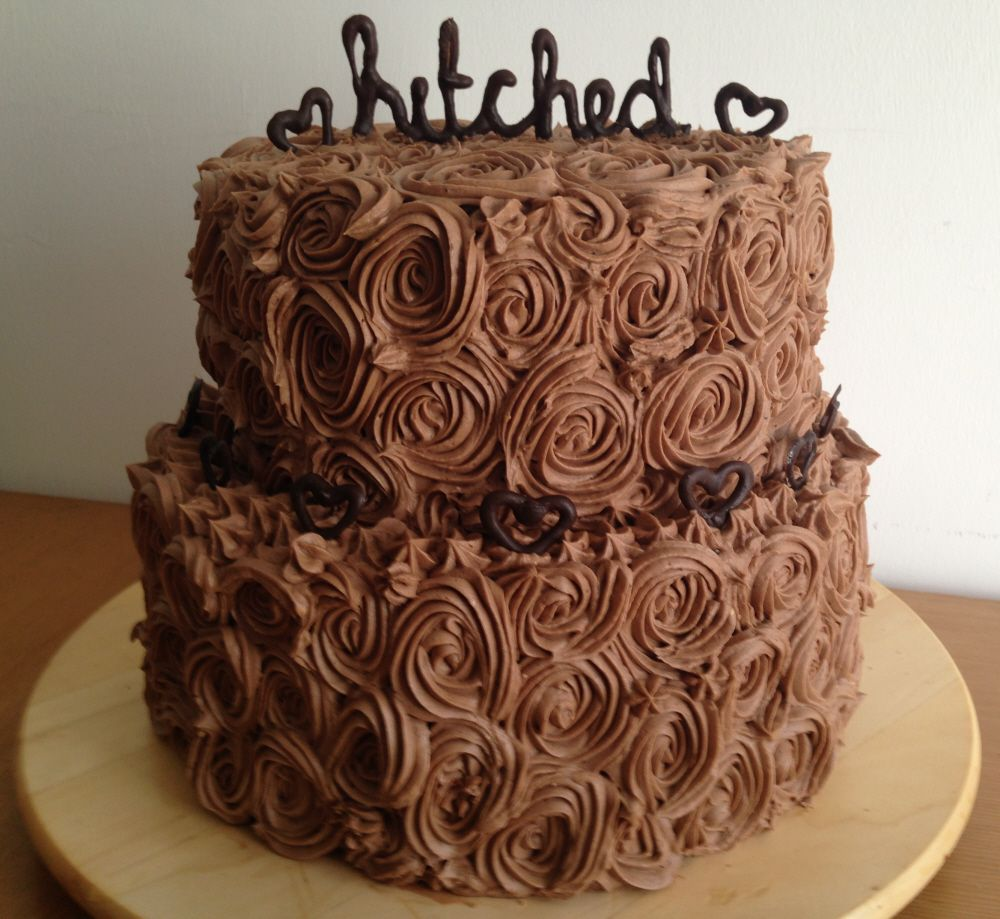 2 tiered wedding cake chocolate roses butter cream hitched topper ...