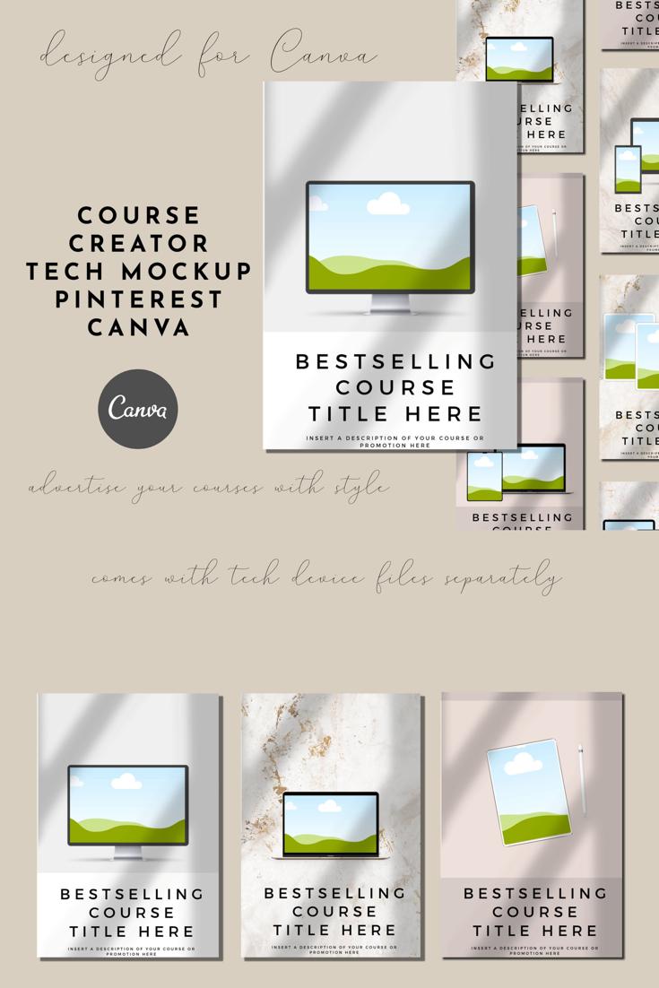 Course Creator Tech Mockup Pinterest Templates For Canva In Etsy Custom Templates Pinterest Templates Ebook Marketing