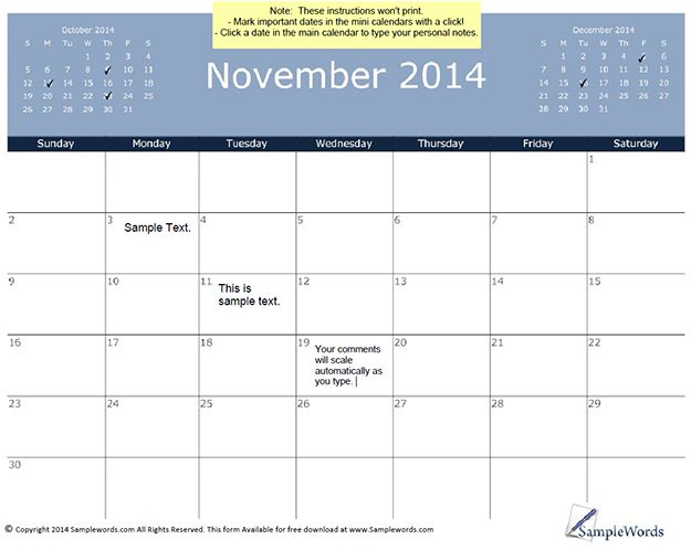 Monthly Calendars Current Year November Calendar Free Printable