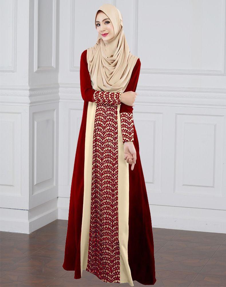 Wholesale Ladies Long Sleeve Maxi Dresses Muslim Long Dress Chiffon ...
