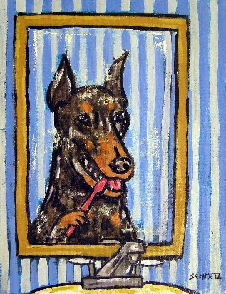 Doberman Pinscher PRINT on tile ceramic coaster gift tea room decor  modern dog