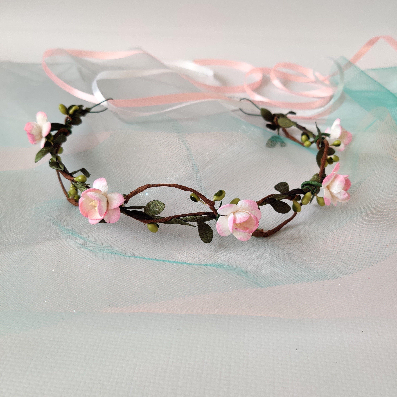 rustic flower weath Blush flower crown wedding floral bridal headpiece bridesmaid flower crown
