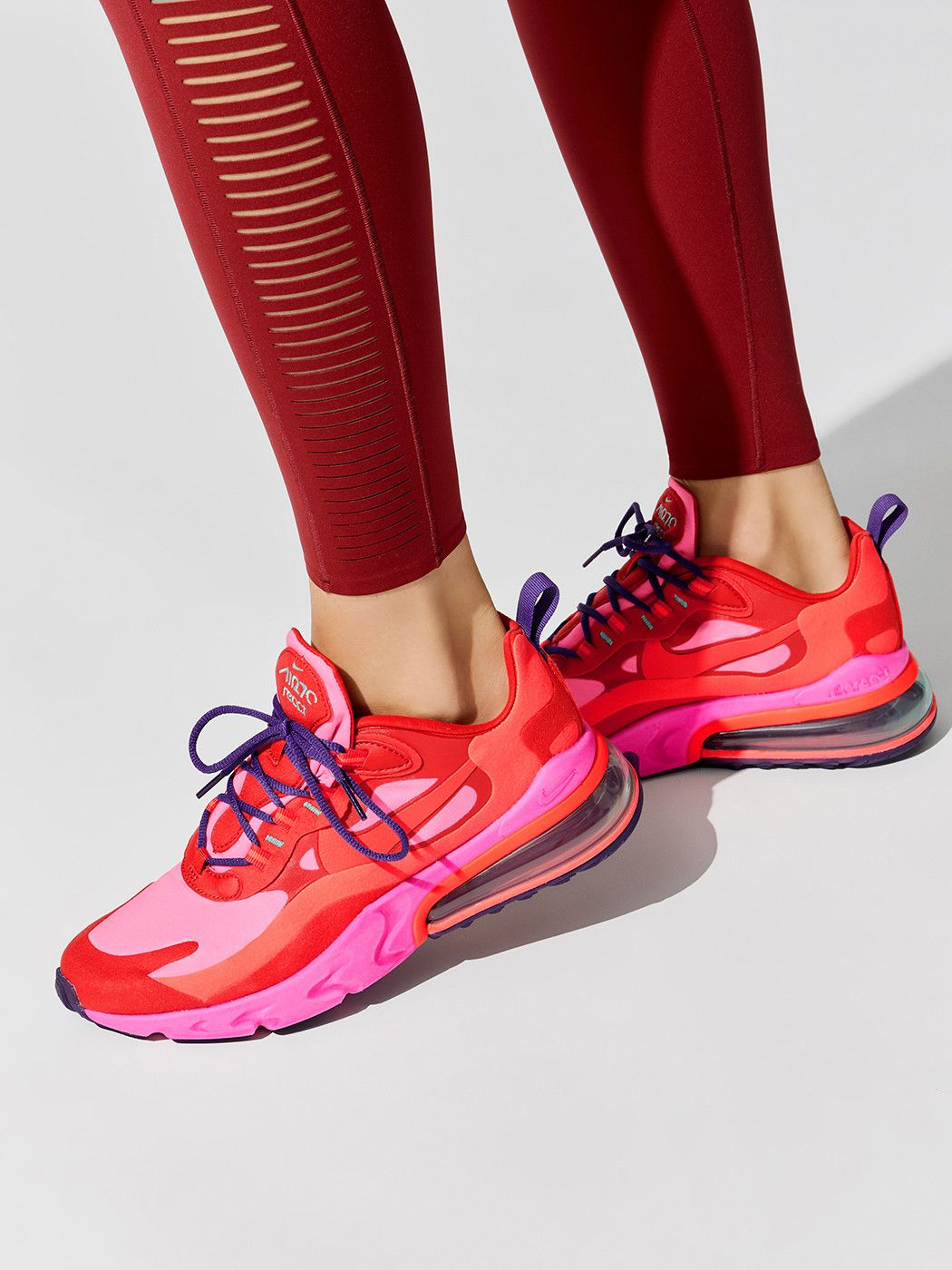 Nike Air Max 270 React In Mystic Red Brt Crimson Pink Blast Habanero Red Court Purple Aurora Green Nike Air Max Air Max 270 Nike