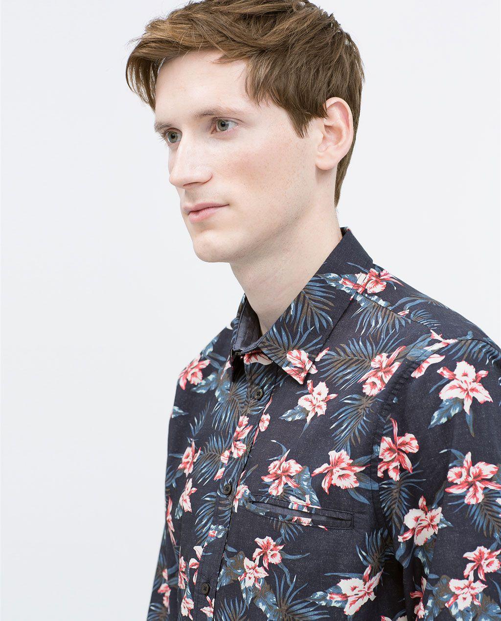 e3b3bb715 ZARA - HOMBRE - CAMISA ESTAMPADA FLORES | Shirts Design | Camisas ...