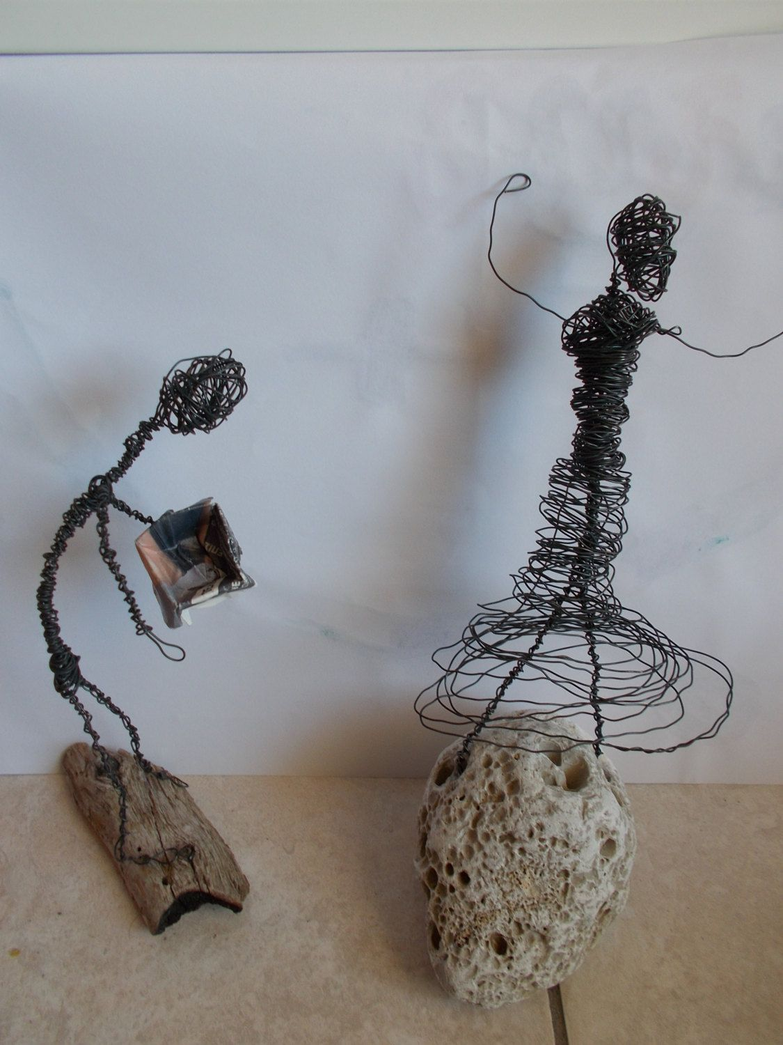 Wire figurines lady and sir, handmade male and female figurines ...