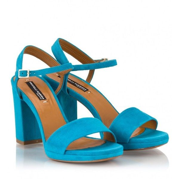 2c9d63e20fb Fratelli Karida - Light blue suede high block heel sandals ( 195) ❤ liked  on Polyvore featuring shoes