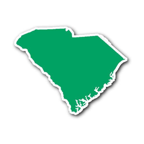 South Carolina State Shape Sticker Outline Green State Shapes South Carolina Shapes