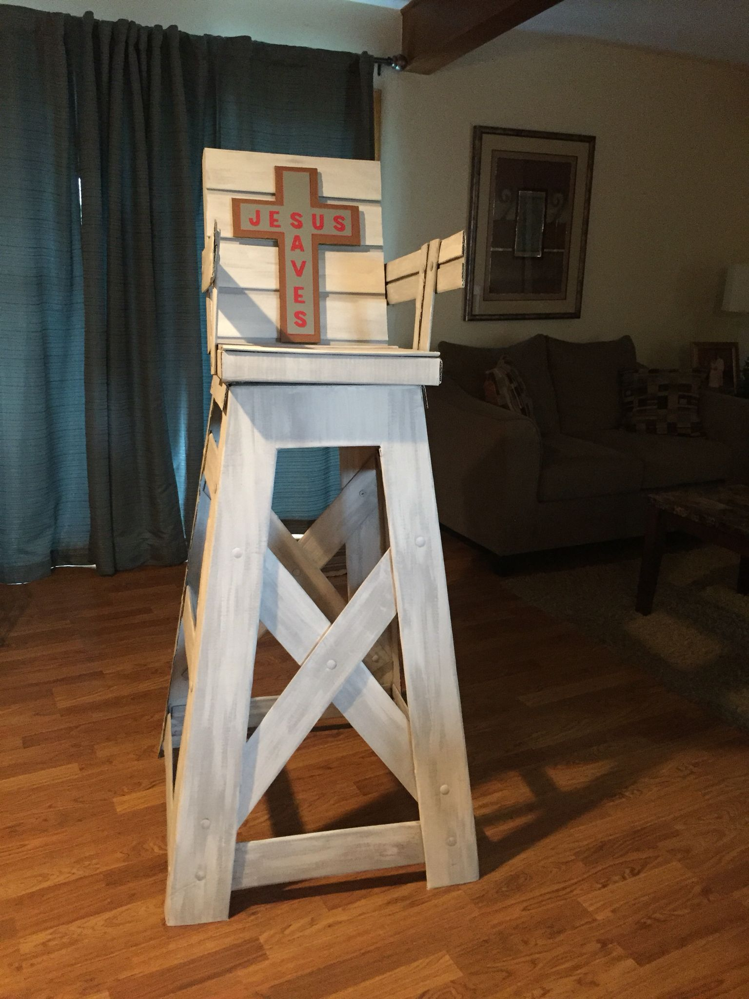 Cardboard lifeguard chair for VBS 2016 Lots of Mr McGroovy rivets
