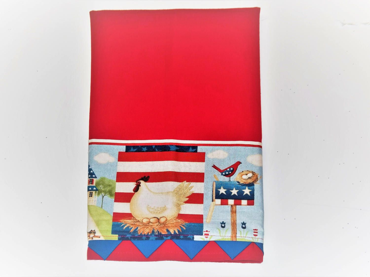 Kitchen Towels Hand Sewn Embellishments Rooster And Hens Red White