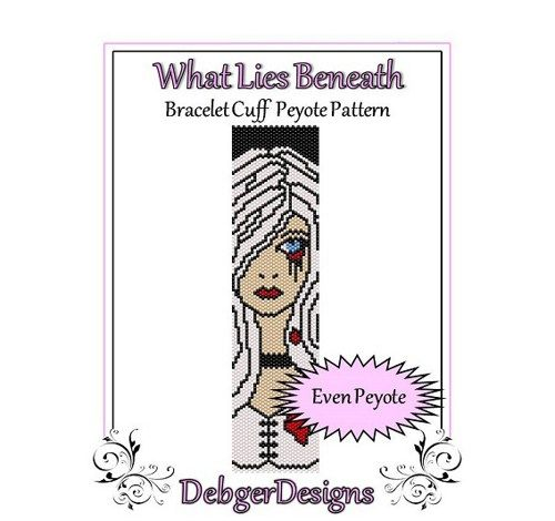 What Lies Beneath - Beaded Peyote Bracelet Cuff Pattern