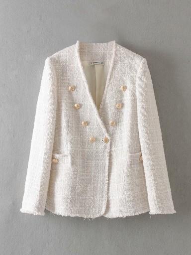 Biala Tweedowa Marynarka Ze Zlotymi Guzikami M 8086784836 Oficjalne Archiwum Allegro Spring Blazer Women Casual Outerwear Casual Coat