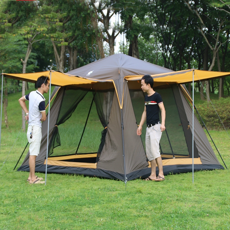 97.55$  Watch here - http://aliobx.worldwells.pw/go.php?t=32496763998 - South Korea pattern 5 -6 people double layer four door ventilation sunshade automatice outdoor camping family travel tent
