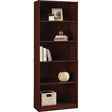 Staples Hayden Laminate Bookcase 5 Shelf Hilton Cherry