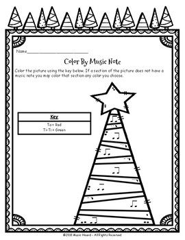 Christmas Tree Color By Music Note Rhythm Coloring