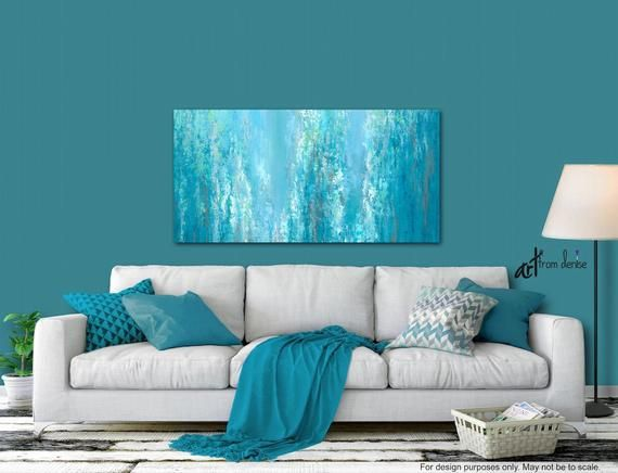 Teal Blue Green Abstract Painting Canvas Art Print Gray Turquoise White Small Or Large Wall Art Oversized Xl 72 Oversized Canvas Wall Art Above Bed Decor Art Over Couch