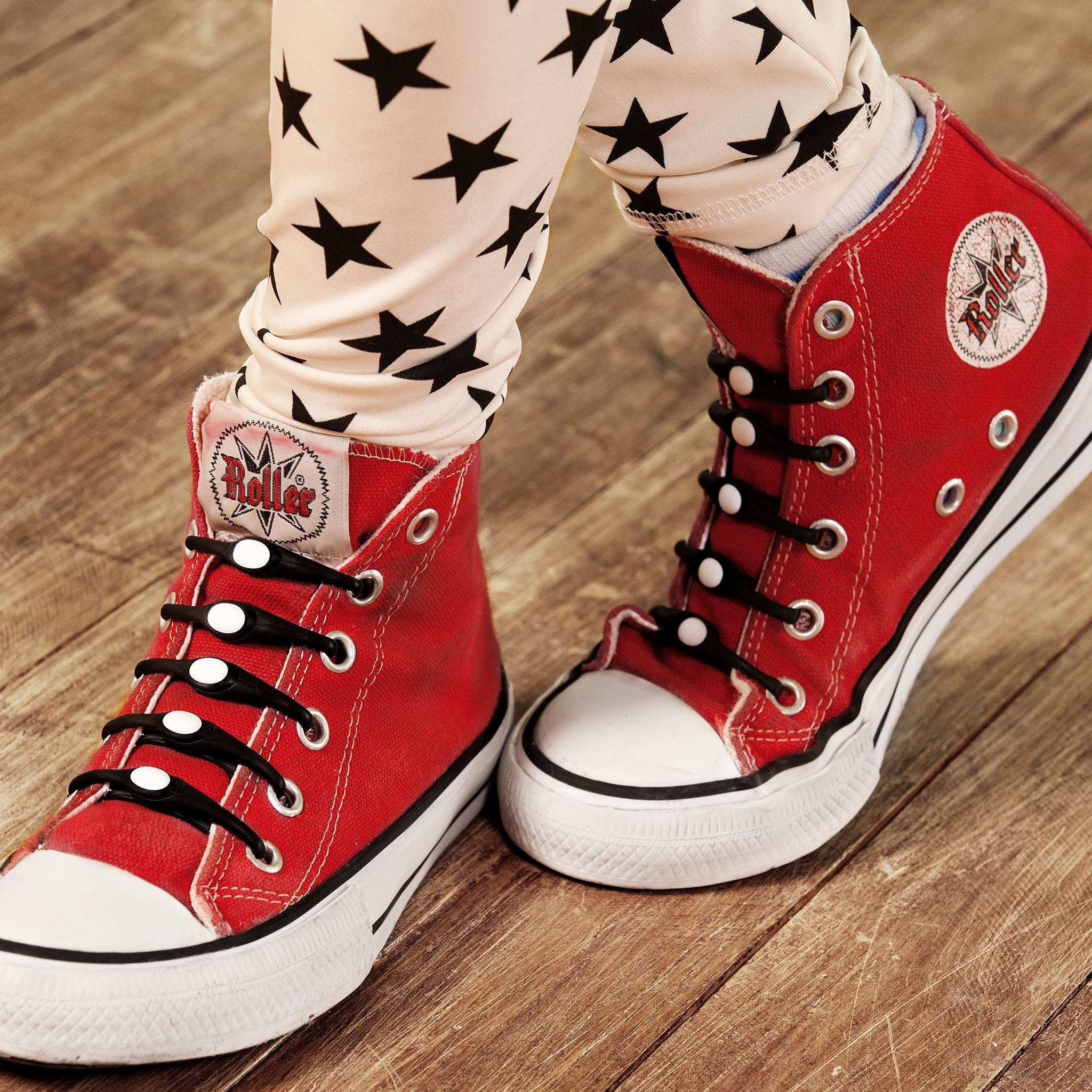 9325a622250 Red Converse All Stars + Black   White HICKIES Elastic laces