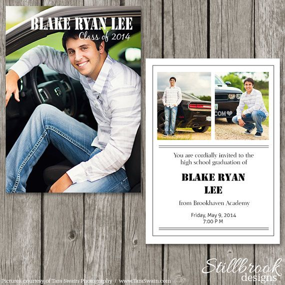 Boy Graduation Announcement Template  Senior Guy Graduation