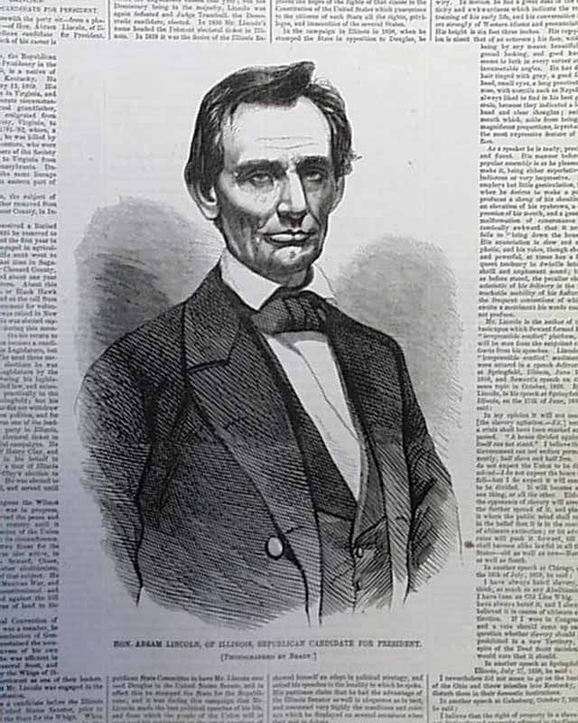 """Early """"beardless"""" Lincoln Illustration... HARPER'S WEEKLY"""