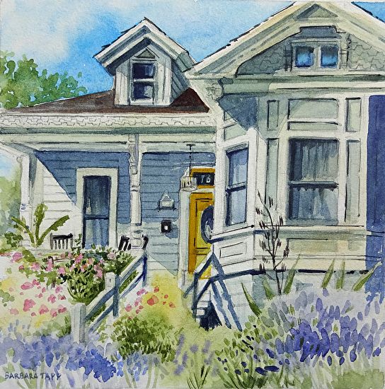 Barbara Tapp Lavender And The Yellow Door Watercolor Painting