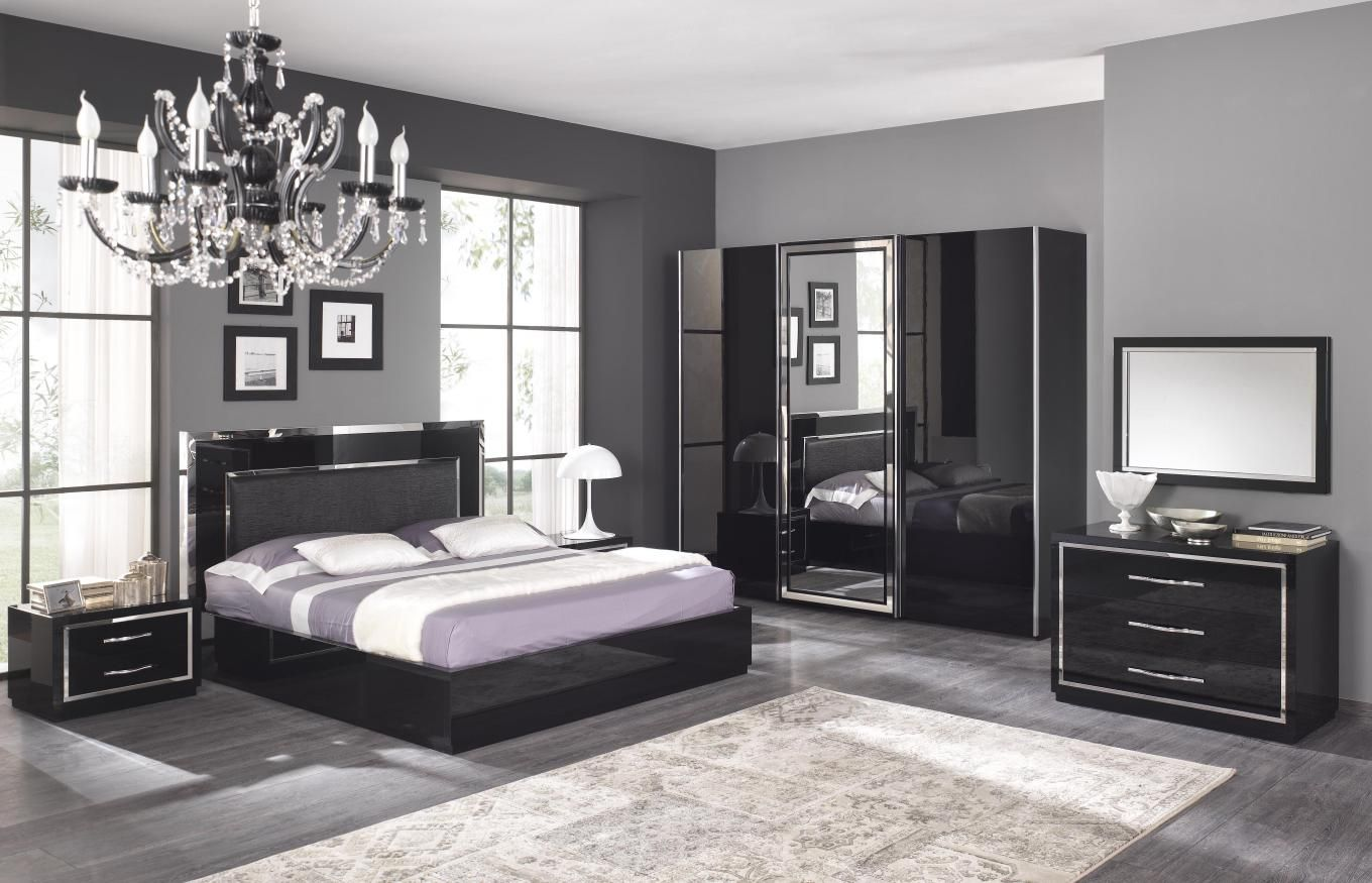 Chambre adulte compl te design stef coloris noir laqu for Chambre a coucher adulte contemporaine