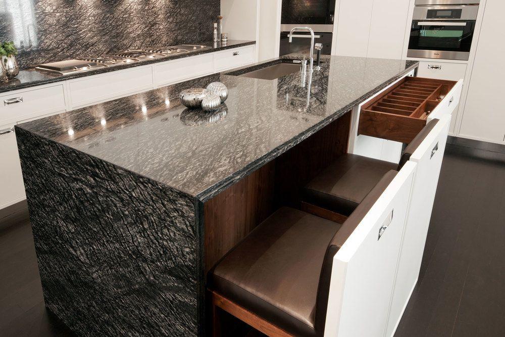 Hide Away Stools And Dark Waterfall Counter Tops Kitchen Island Bench Diy Dream Home Condo Living Room