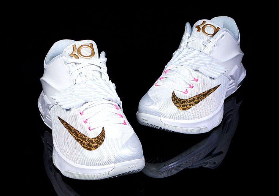 Men's Nike KD 7 VII PRM EP Aunt Pearl White Pink Sneakers : P22s6988