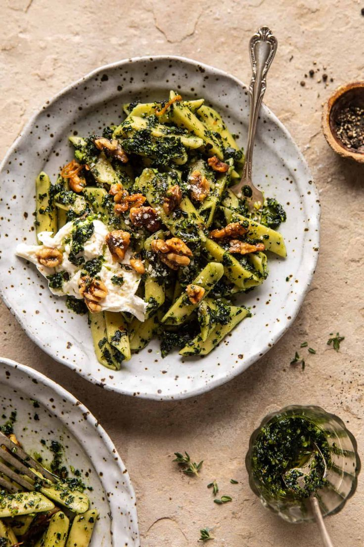 Herby Kale Pesto Pasta with Buttery Walnuts...a simple vibrant take on pesto pasta that's ready in 30 minutes. Bonus...the leftovers are great the next day!