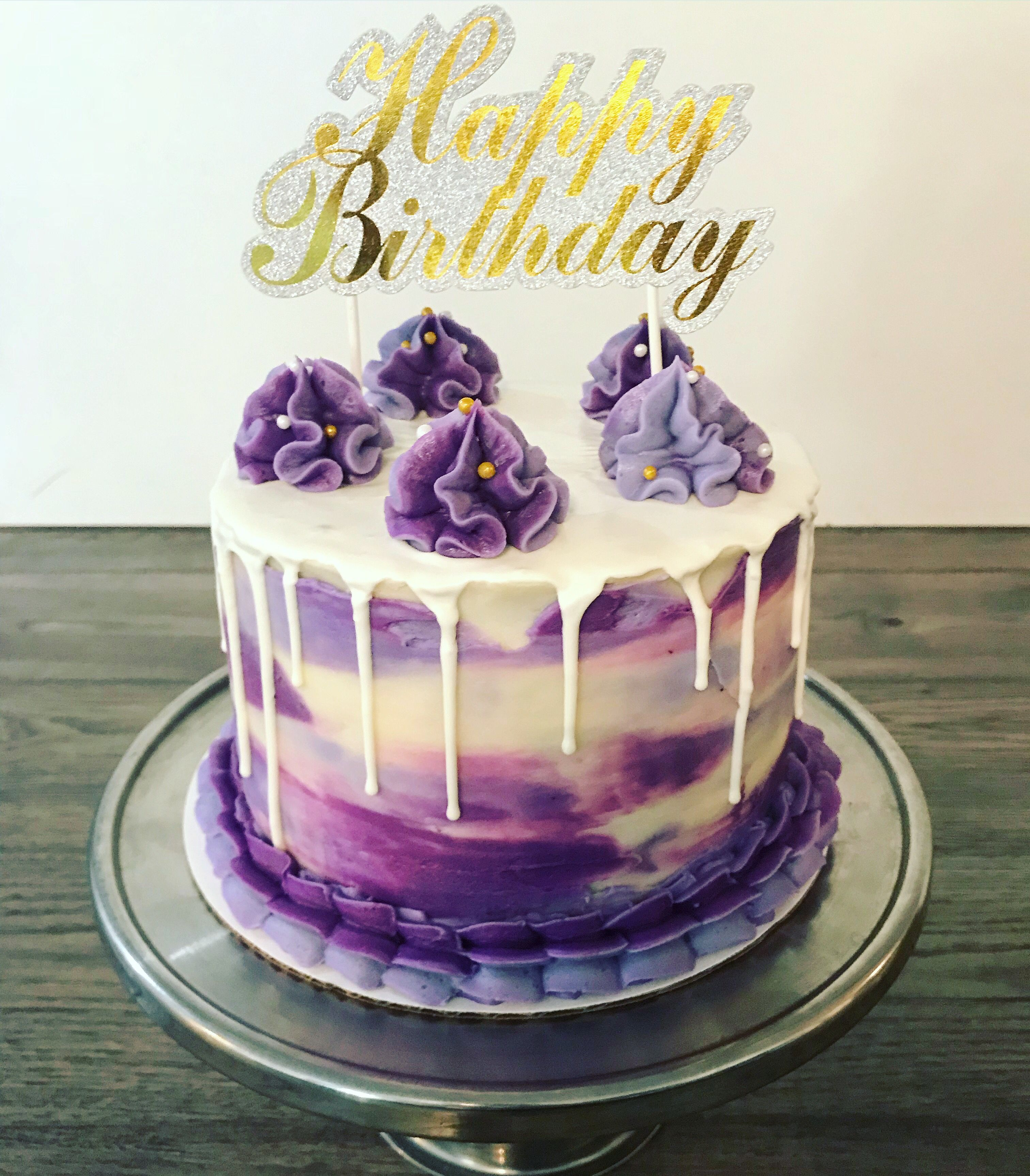 Enjoyable Purple And White Drip Cake Drip Cakes Purple Cakes Birthday Personalised Birthday Cards Rectzonderlifede
