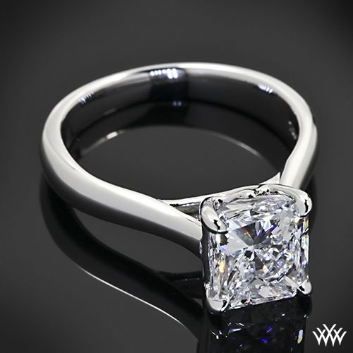 """aaf5b5b7e73882 This """"Royal Crown"""" Solitaire Engagement Ring for Princess Cut Diamonds by  Vatche is set in 18k white gold and holds a beautiful 2.00ct Radiant Cut  Diamond."""