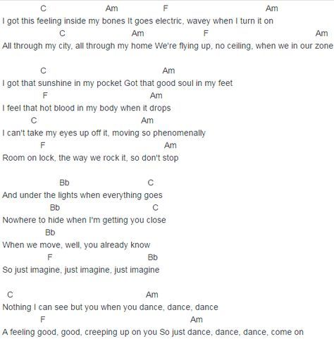 Justin Timberlake Cant Stop The Feeling Chords Lyrics For Guitar