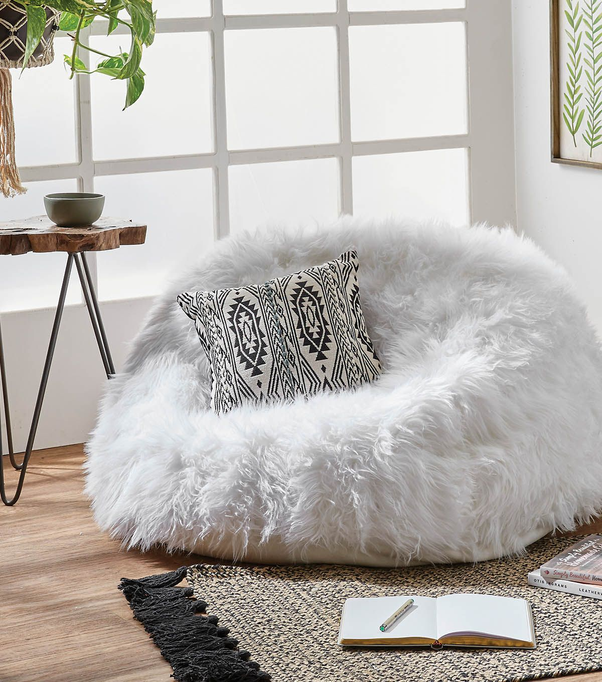 Fantastic How To Make A Faux Fur Bean Bag Chair Directions In 2019 Machost Co Dining Chair Design Ideas Machostcouk