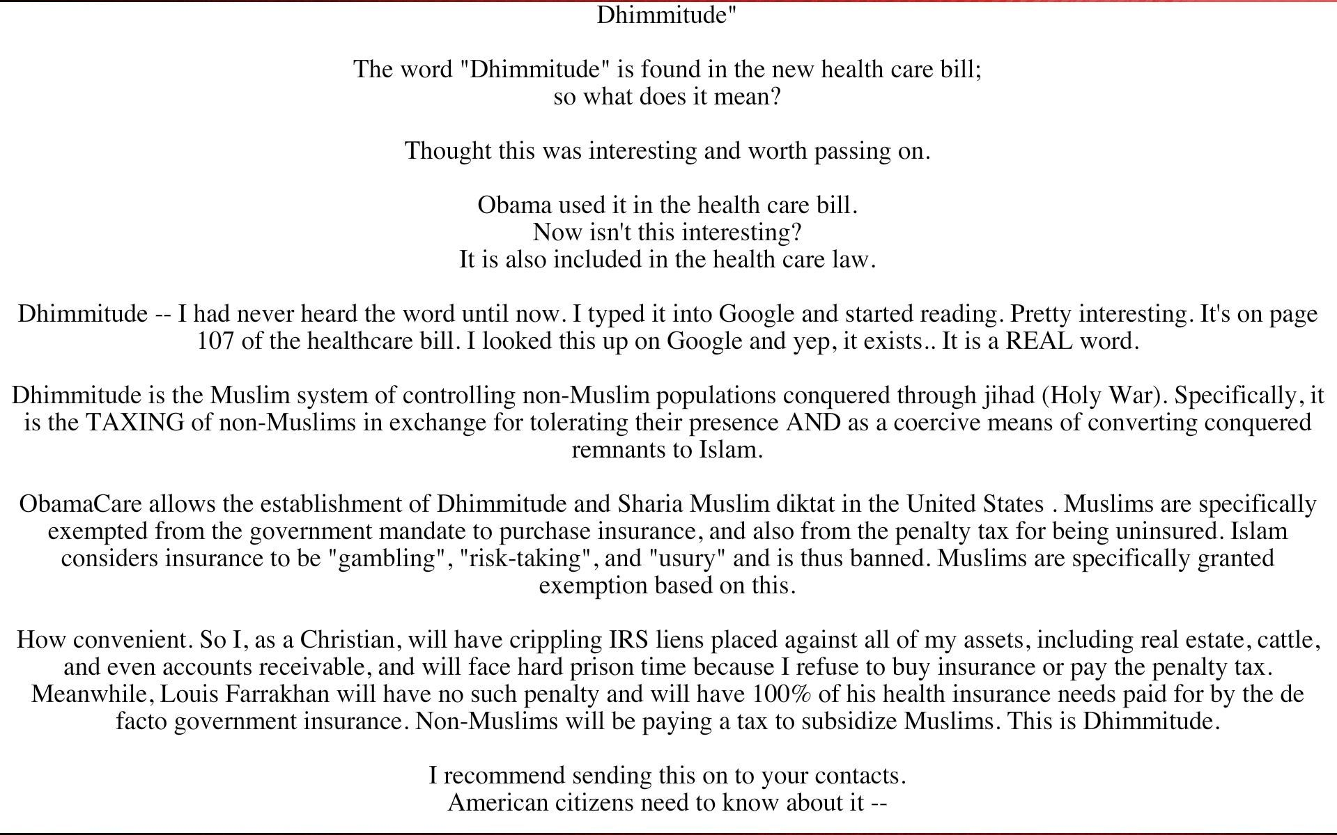 """The word """"Dhimmitude"""" is found in the new health care bill ..."""