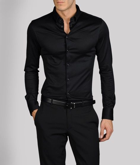 Images of a men wearing black dress shirt with tie