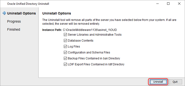 Oracle Unified Directory Uninstallation | catgovind