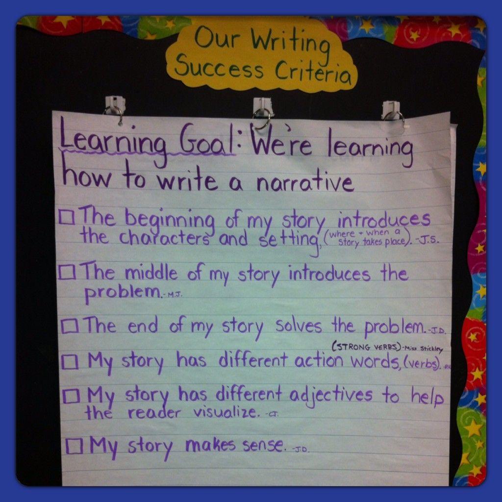 success criteria for narrative writing grade 5