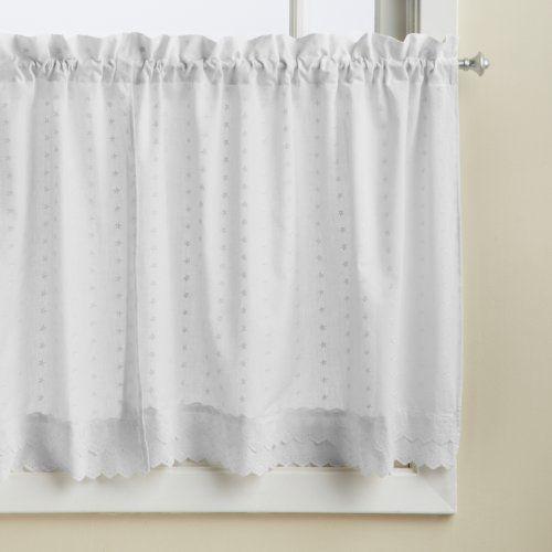 Lorraine Home Fashions Ribbon Eyelet Window Tier 60 By 24 Inch