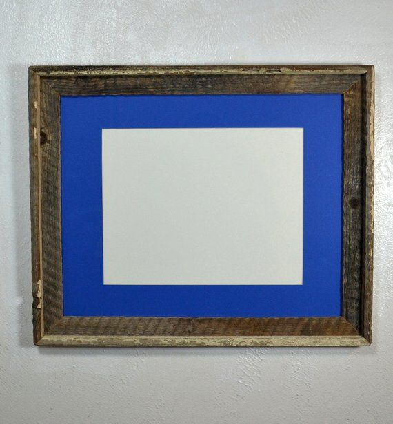 11x14 Picture Frame Blue Mat 20 Mat Colors 11x14 11x17 12x16 Or 12x18 Mat Options Ready To Ship Reclaimed Wood Picture Frames Wood Picture Frames Picture On Wood