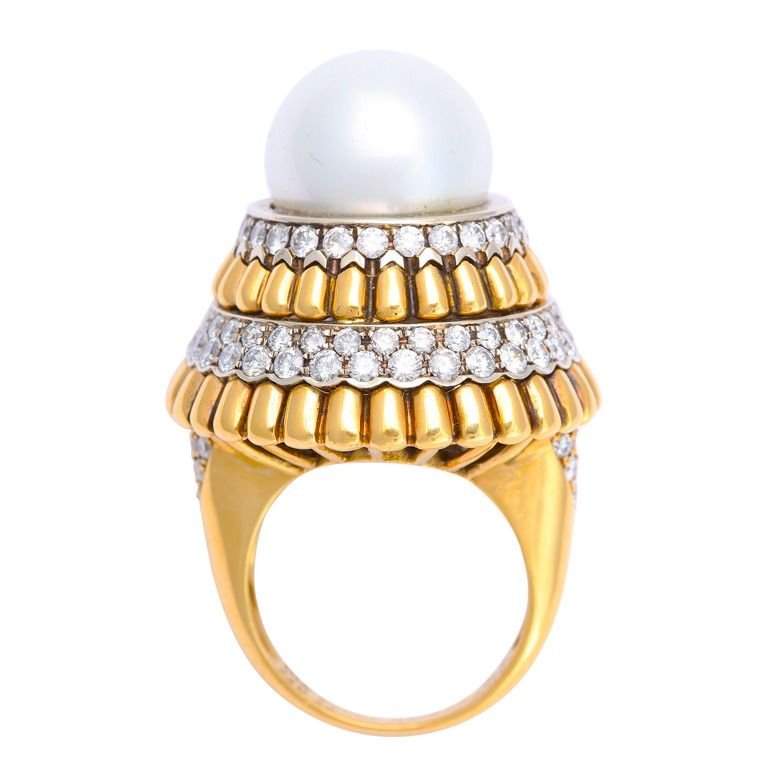 1960s Van Cleef & Arpels Pearl and Diamond Ring | From a unique collection of vintage cocktail rings at https://www.1stdibs.com/jewelry/rings/cocktail-rings/