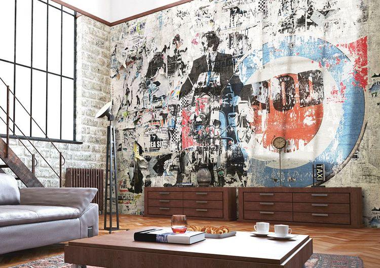 Tapeten Fur Wohnzimmer Ausgefallen Strassenkunst Blau Rot Altlook Industrial Chic Glamora Tapete Wohnzimmer Tapeten Wohnzimmer Tapeten