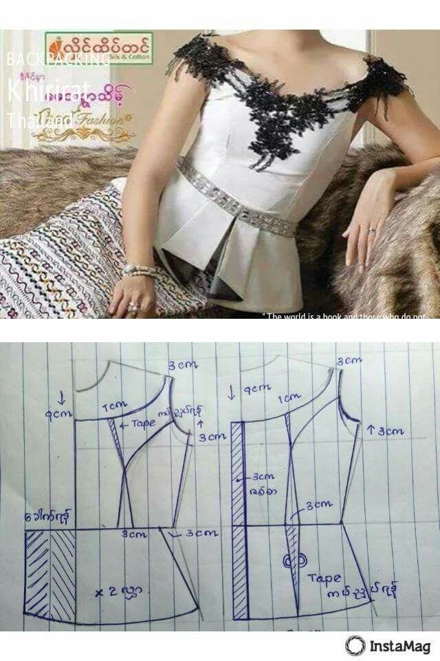 pattern by ma mya thida | clothes | Pinterest | Costura, Vestidos y Ropa